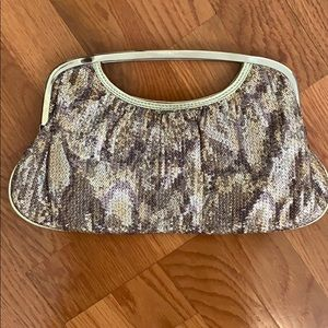 Express Gold sequin clutch